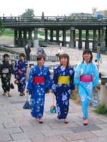 Japanese university students and or OLs or office ladies in summer yukata kimono off the beaten track